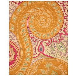 Hand-tufted Wool Orange Transitional Floral Paisley Rug - 4' x 6' - Thumbnail 0