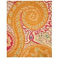 Hand-tufted Wool Orange Transitional Floral Paisley Rug (4' x 6')