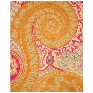 Hand-tufted Wool Orange Transitional Floral Paisley Rug (5' x 8') - 5' x 8'