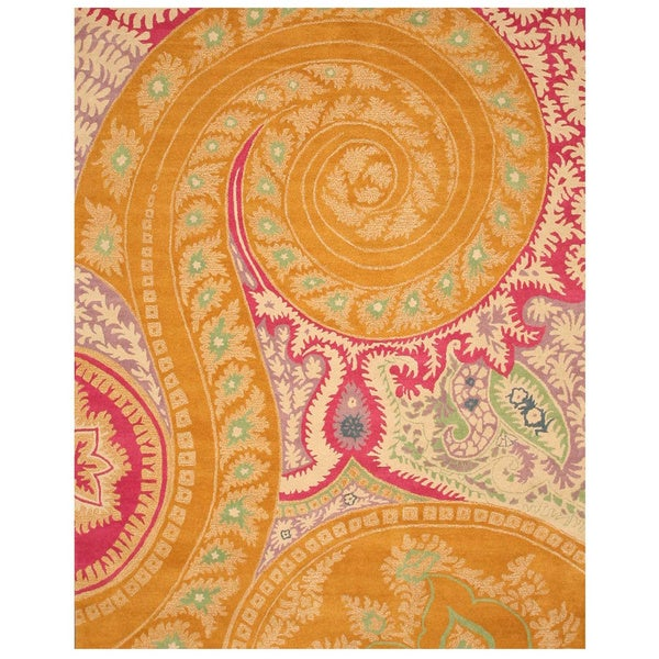 Hand-tufted Wool Orange Transitional Floral Paisley Rug (8'9 x 11'9)
