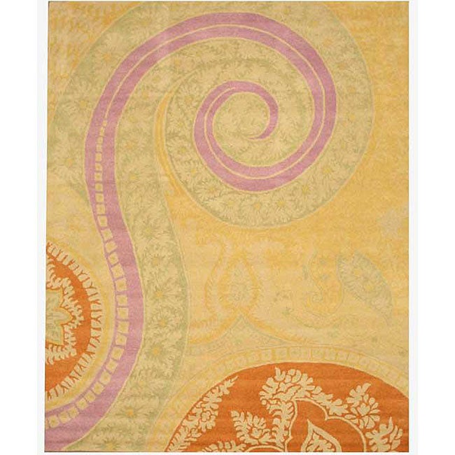Hand-tufted Wool Yellow Transitional Floral Tirana Rug (8'9 x 11'9)