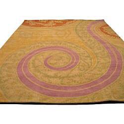 Hand-tufted Wool Yellow Transitional Floral Tirana Rug (8'9 x 11'9) - Thumbnail 2