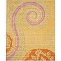 Hand-tufted Wool Yellow Transitional Floral Tirana Rug - 8'9 x 11'9