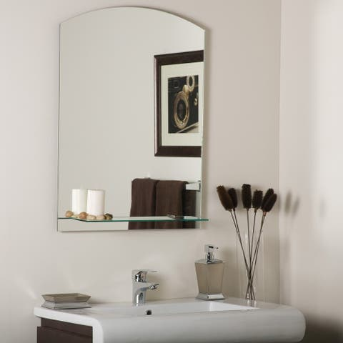 The Arch Frameless Mirror with Shelf - Silver - A/N