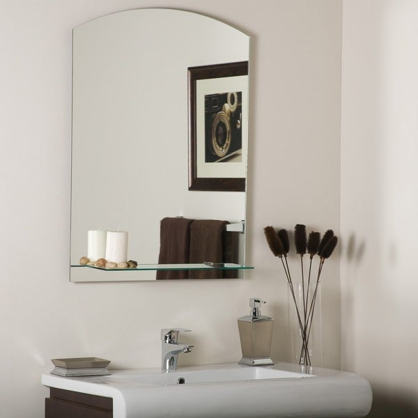 Shop the arch frameless mirror with shelf silver a n - Bathroom mirror mounting hardware ...