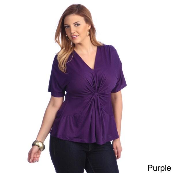 Kiyonna Women's Plus Size V-neck Gathered Top