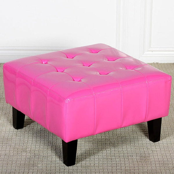 Ethan Children's Pink Patent Leather Ottoman