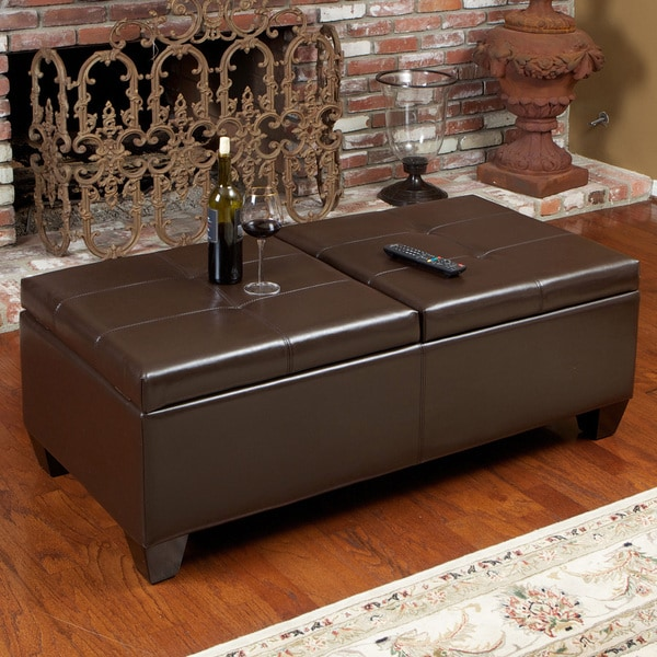 Alfred Brown Bonded Leather Storage Ottoman by Christopher Knight