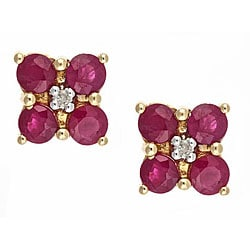 Anika and August 14k Yellow Gold Ruby and Diamond Accent Earrings