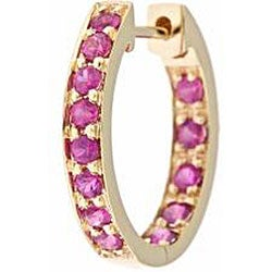 Anika and August 14k Yellow Gold Ruby Hoop Earrings - Thumbnail 1