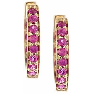 Anika and August 14k Yellow Gold Ruby Hoop Earrings