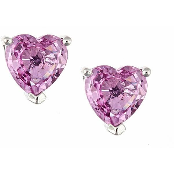 Anika and August 14k White Gold Pink Sapphire Heart Stud Earrings