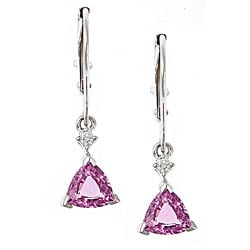 D'Yach 14k White Gold Pink Sapphire and Diamond Accent Earrings