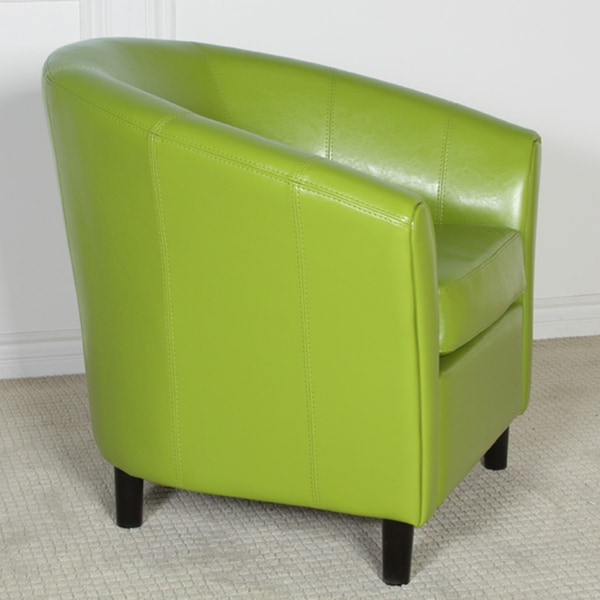 Napoli Lime Green Bonded Leather Club Chair By Christopher Knight Home    Free Shipping Today   Overstock.com   12914846