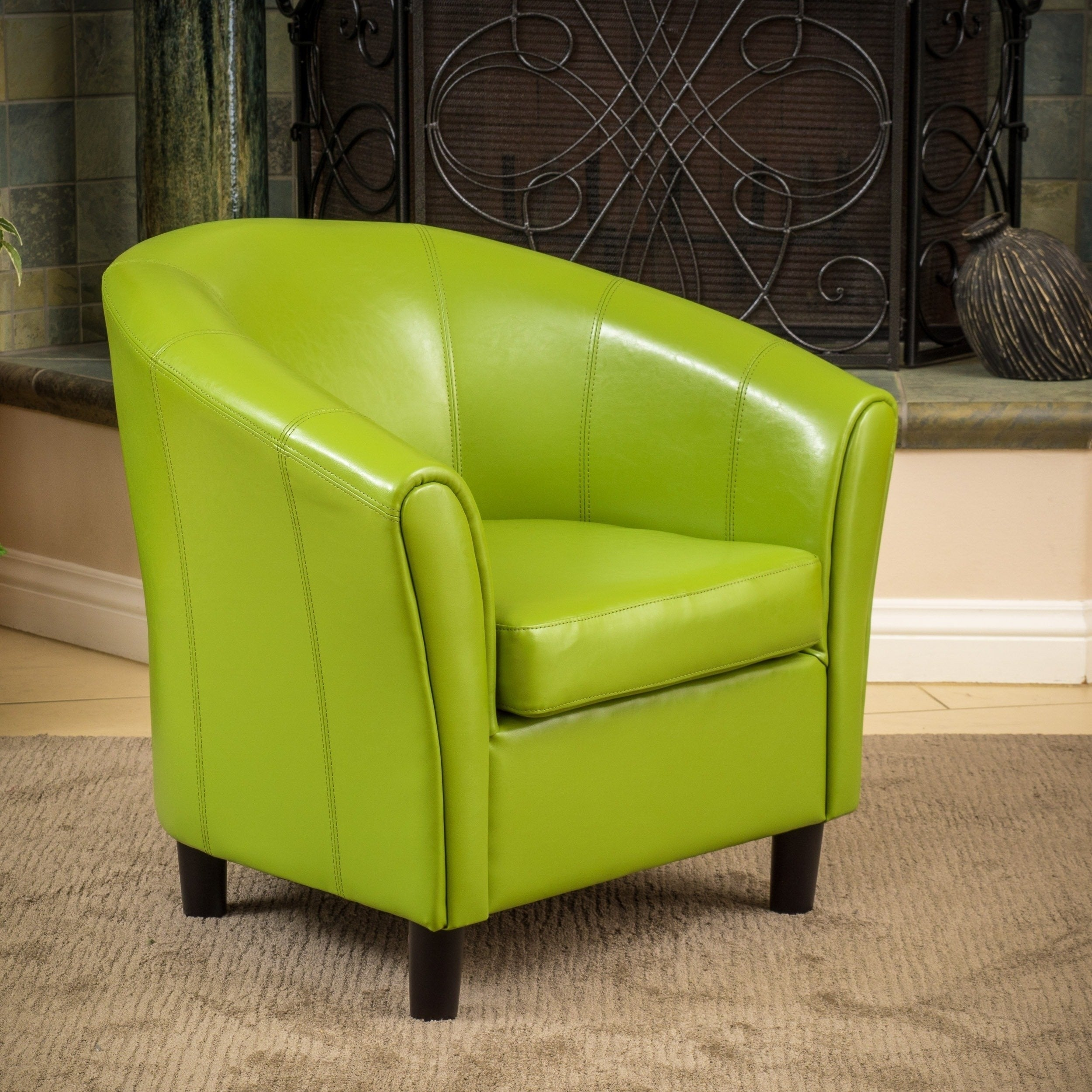 Napoli Lime Green Bonded Leather Club Chair By Christopher