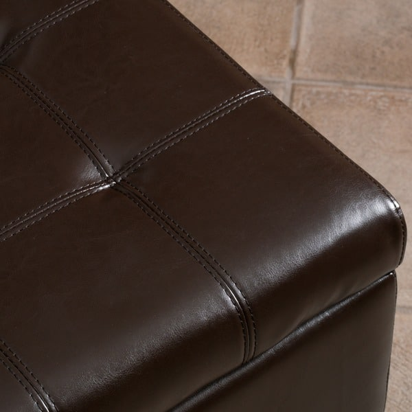 Outstanding Shop Mission Brown Tufted Bonded Leather Ottoman Storage Alphanode Cool Chair Designs And Ideas Alphanodeonline
