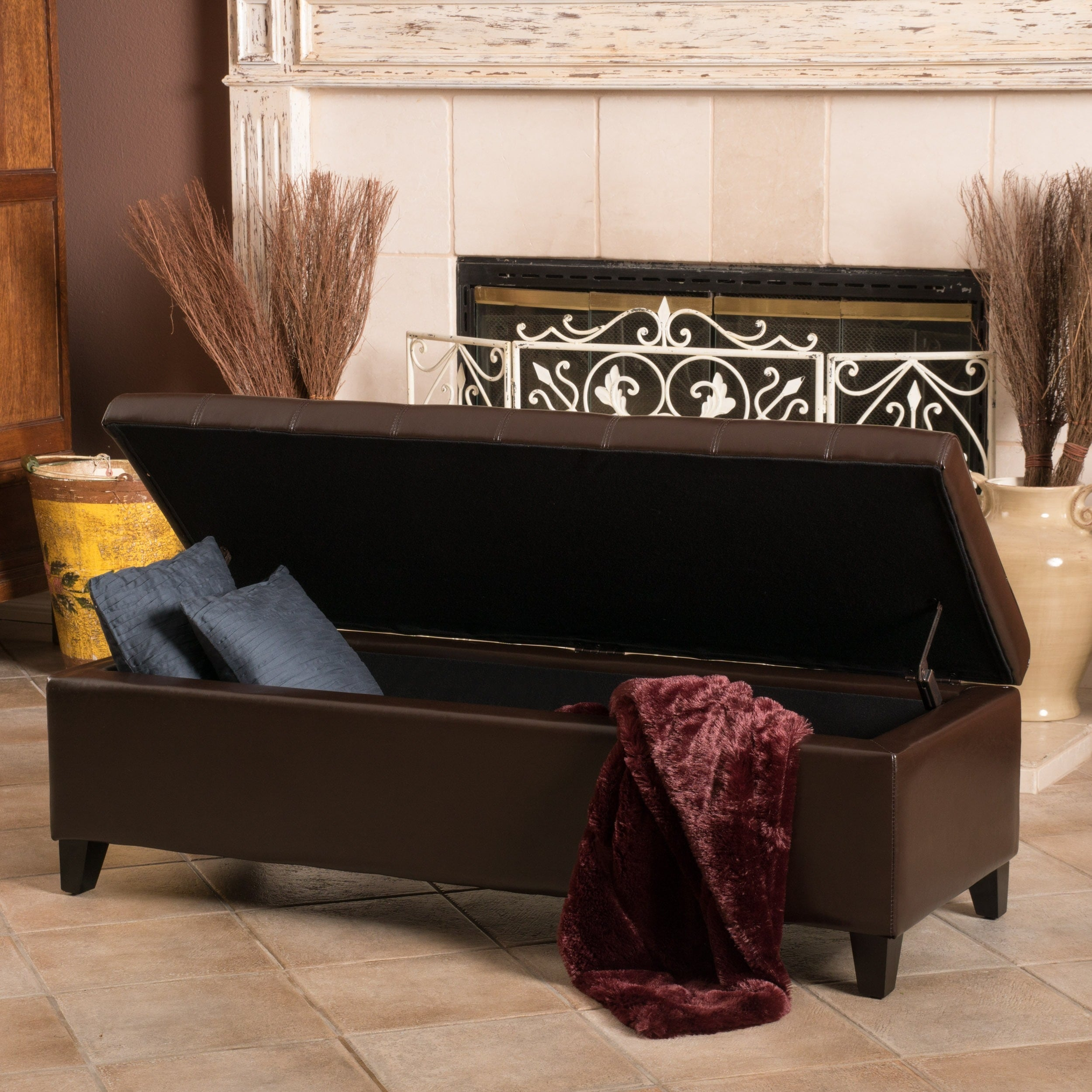 Mission Brown Tufted Bonded Leather Ottoman Storage Bench By Christopher Knight Home On Sale Overstock 5036236
