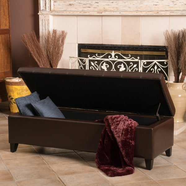 Mission Brown Tufted Bonded Leather Ottoman Storage Bench By Christopher  Knight Home