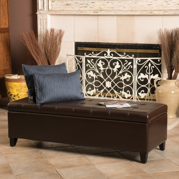 Mission Brown Tufted Bonded Leather Ottoman Storage Bench By Christopher  Knight Home   Free Shipping Today   Overstock.com   12914848