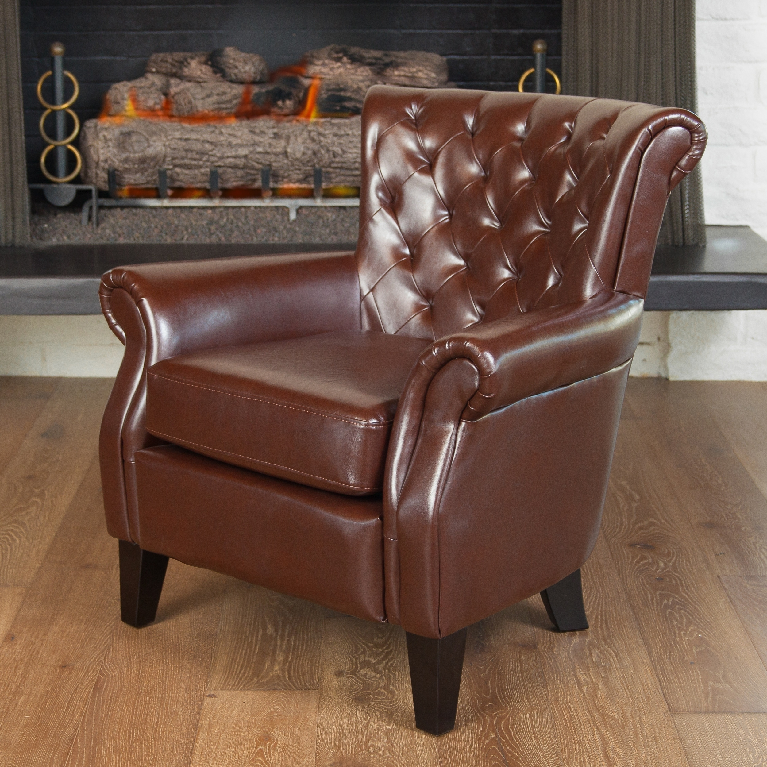 Details About Franklin Brown Tufted Bonded Leather Club Chair By  Christopher Knight Home