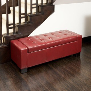 Guernsey Red Bonded Leather Storage Ottoman by Christopher Knight Home