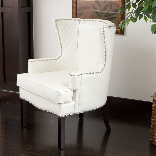 Shop Roma White Quilted Bonded Leather Arm Chair