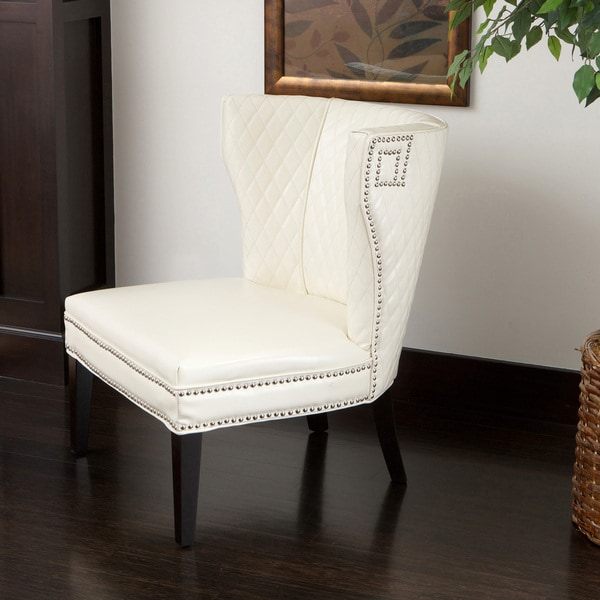 Tessa Ivory Quilted Bonded Leather Chair