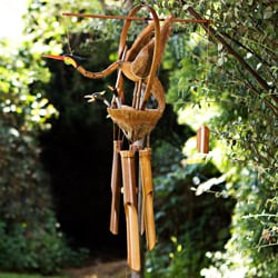 Handmade Bamboo and Coconut Bird Wind Chime (Indonesia)