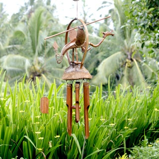 Bamboo and Coconut 26-inch Dragon Chime, Handmade in Indonesia
