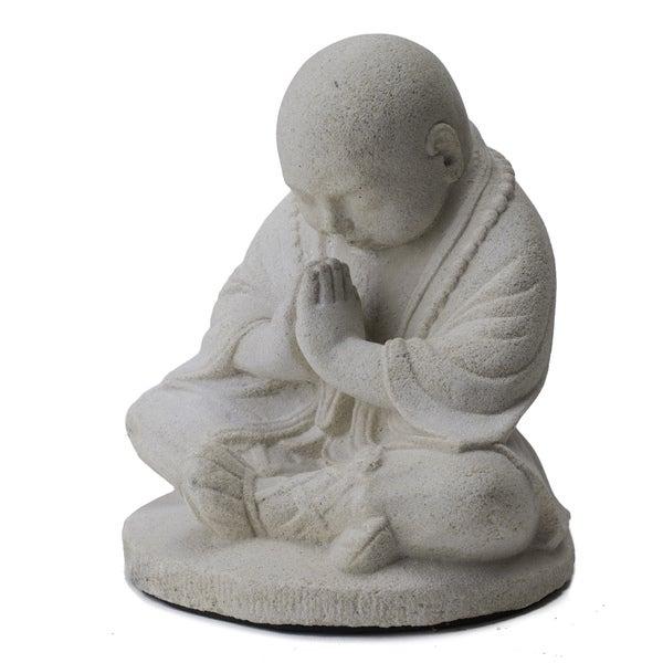 Handmade Baby Namaste Praying Monk Sculpture (Indonesia)