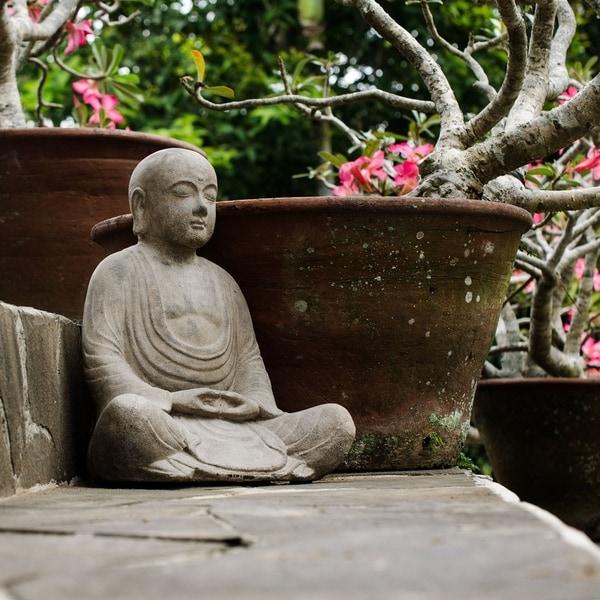 Handmade Stone Antiqued Hairless Buddha Statue
