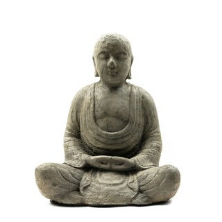 Handmade Stone Antiqued Hairless Buddha Statuette (Indonesia)