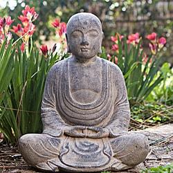 Handmade Stone Antiqued Hairless Buddha Statuette (Indonesia)