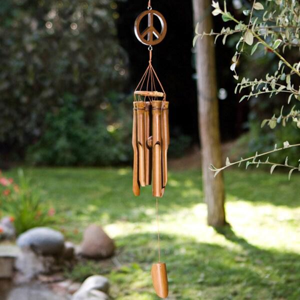 Handmade Bamboo and Suar Wood Mini Peace Sign Chime (Indonesia)