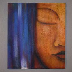 Handmade Oil on Canvas Buddha Profile Painting (Indonesia)
