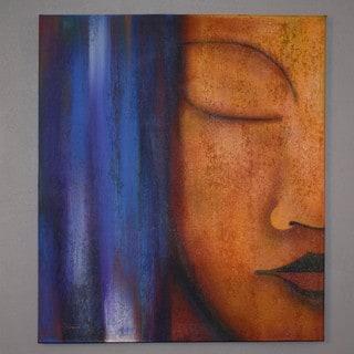 Handmade Oil on Canvas Buddha Profile Painting (Indonesia)