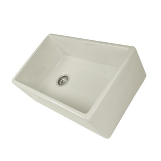 Highpoint Collection 30-inch Bisque Fireclay Farm Sink with Side Position Drain