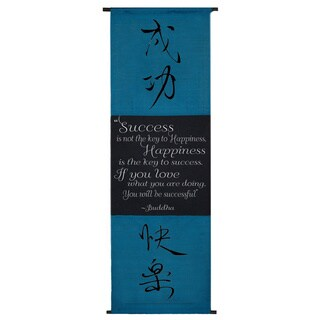 Happiness' Buddha Quote Turquoise Scroll, Handmade in Indonesia
