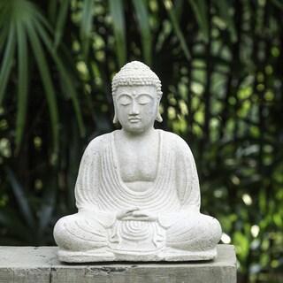 Handmade White Sandstone Buddha Statue (Indonesia)