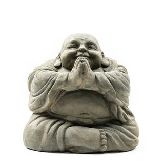 Stone Small Happy Buddha Praying Antique, Handmade in Indonesia|https://ak1.ostkcdn.com/images/products/5036527/P12915105.jpg?impolicy=medium