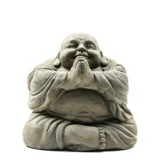 Stone Small Happy Buddha Praying Antique, Handmade in Indonesia