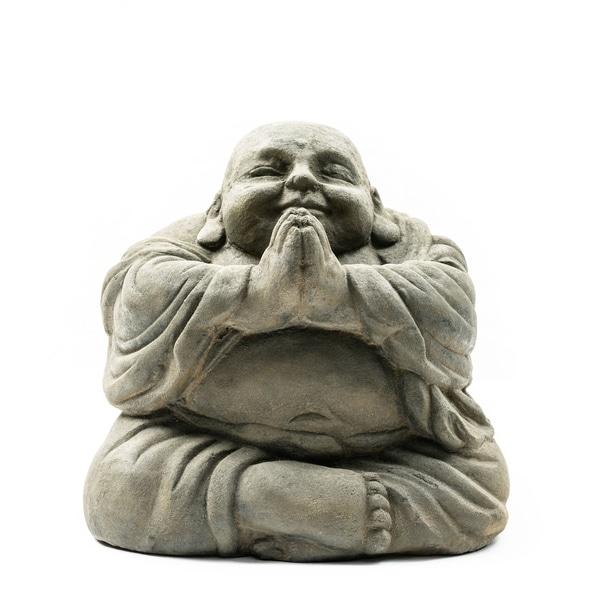 Stone Small Happy Buddha Praying Antique