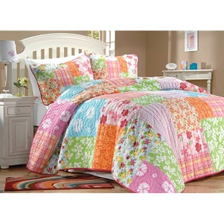 Aloha Girl's Multicolor Printed Cotton Pieced 3-piece Quilt Set (2 options available)
