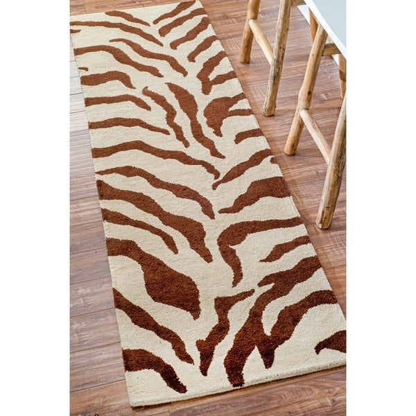 nuLOOM Zebra Animal Pattern Brown/ Ivory Wool Rug (2'6 x 12')
