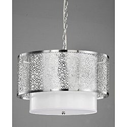 3-light Contemporary White Shade Satin Nickel Chandelier