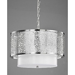 3-light Contemporary White Shade Satin Nickel Chandelier - Thumbnail 1