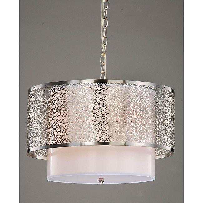 3-light Contemporary White Shade Satin Nickel Chandelier