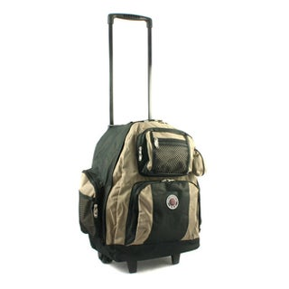 Roll-Away 18-inch Deluxe Rolling Unisex Polyester Carry-on Backpack (Option: Khaki)