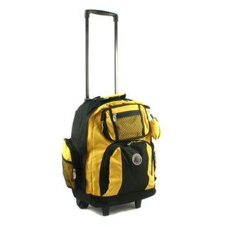 Roll-Away 18-inch Deluxe Rolling Unisex Polyester Carry-on Backpack (Option: Yellow)