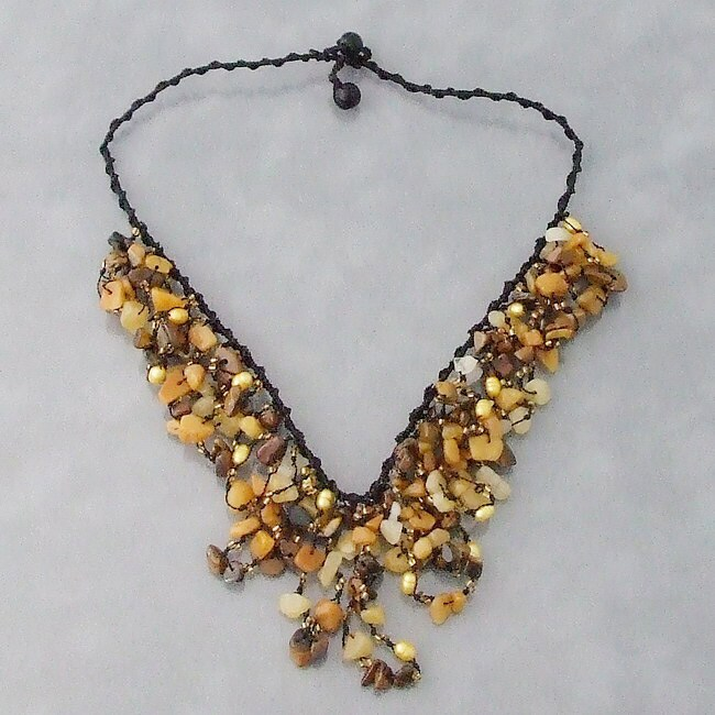 Handmade Tiger Eye Waterfall Cluster Necklace (Thailand)
